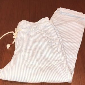 Anthropologie Blue White Striped Linen Capri Pants